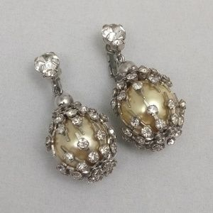 Vintage Art Deco Style Rhinestone Dangle Earrings